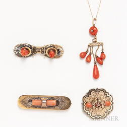 Four Pieces of Antique Coral Jewelry