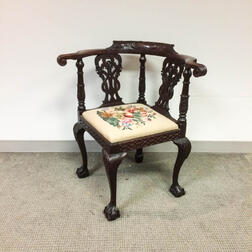 Chippendale-style Carved Mahogany Roundabout Chair