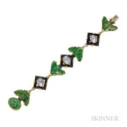 14kt Gold, Star Sapphire, Onyx, and Jade Bracelet, Walter Lampl