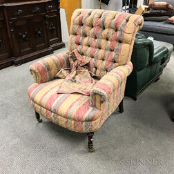 Victorian-style Upholstered Mahogany Easy Chair