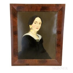 Framed Prior-Hamblin School Portrait of a Woman with Yellow Ribbon and Brooch