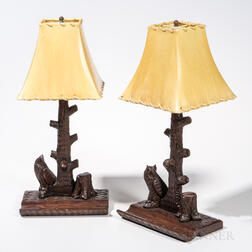 Pair of Carved Walnut Owl Lamps with Shades