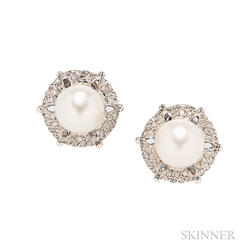 18kt Gold, Cultured Pearl, and Diamond Earclips, Buccellati