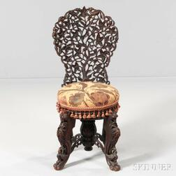 Anglo-Indian Carved Hardwood Slipper Chair