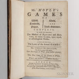 Hoyle, Edmond (1672-1769) Mr. Hoyle's Games of Whist, Quadrille, Piquet, Chess, and Back-Gammon  , Signed by Thomas Osborne.