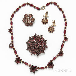 Two Garnet Brooches, Pair of Earrings, and Bead Necklace