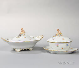 Two Meissen Porcelain Covered Dishes