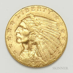 1912 $2.50 Indian Head Gold Coin.     Estimate $300-500