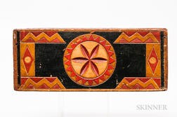 Carved and Polychrome Painted Slide-lid Box
