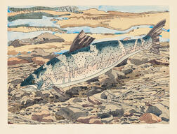 Neil Welliver (American, 1929-2005)      Salmon