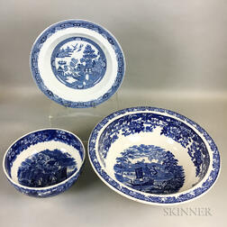 Three Wedgwood Blue and White Transfer-decorated Bowls
