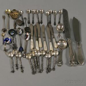Assorted Group of Silver Flatware and Personal Items
