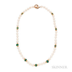 Cultured Pearl and Emerald Bead Necklace