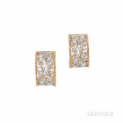 "18kt Bicolor Gold and Diamond ""Scacchi"" Earrings, Buccellati"