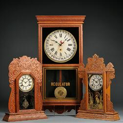 Three Pressed Oak Connecticut Clocks