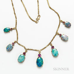 18kt Gold, Opal Doublet, and Ruby Necklace