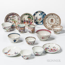 Group of Export Porcelain Tea Bowls and Saucers