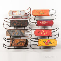 Collection of Eight Miniature Painted Sleds