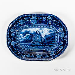 Small Staffordshire Historical Blue Transfer-decorated Arms of Massachusetts Platter