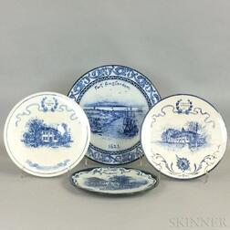 Four Volkmar Blue and White Pottery Chargers