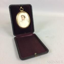 Framed Cased Portrait Miniature of a Woman