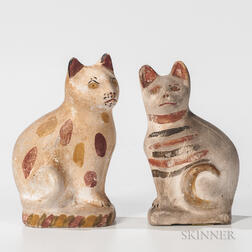 Two Small Chalkware Cats