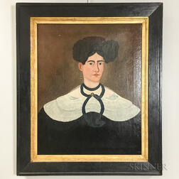 American School, Early 19th Century       Portrait of a Woman with Elaborate Hairdo and Tortoiseshell Comb
