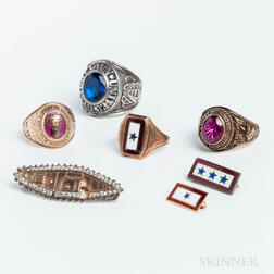 Group of Class Rings and Military-themed Brooches