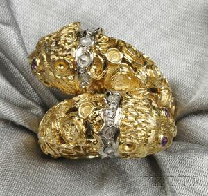18kt Gold and Diamond Lion's Head Ring, Lalaounis
