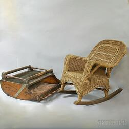 Child's Wicker Rocker and Cranberry Scoop