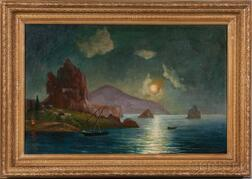 Russian School, 20th Century      Ship Under Moonlight by a Mountainous Coastline.