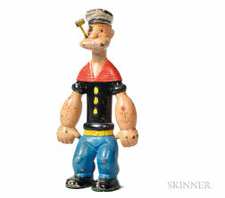 Cast Iron and Paint-decorated Hubley Popeye Doorstop