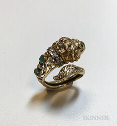 18kt Gold, Emerald, and Diamond Lion Ring