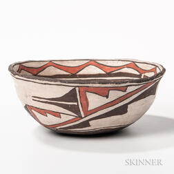 Polychrome Pottery Dough Bowl