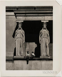 Walker Evans (American, 1903-1975)  Two Children Seated Between Caryatids at the Museum of Science and Industry, Chicago, Made for the