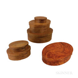 Six Contemporary Shaker Oval Boxes
