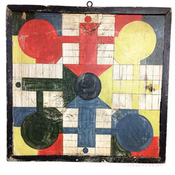 Polychrome Painted Pine Parcheesi Game Board