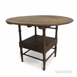 Red-painted Pine Round-top Hutch Table