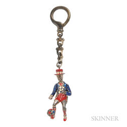 Sterling Silver and Enamel Circus Figure Keychain, Designed by Gene Moore, Tiffany & Co.