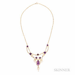 Antique Gold, Amethyst, and Freshwater Pearl Necklace