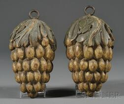 Pair of Carved, Painted, and Gilded Grape Cluster-form Vintner Trade Signs