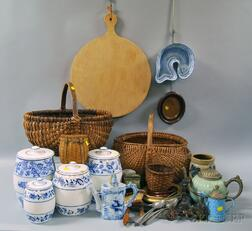 Group of Assorted Basketry, Enamelware, Ceramic, Wood, and Metal Household Items
