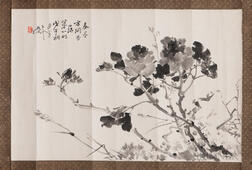 Two Ink Painting Leaves Depicting Flowers