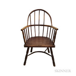 Primitive Red-stained Sack-back Windsor Chair