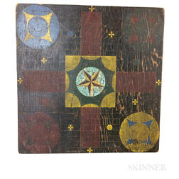 Small Polychrome Painted Pine Parcheesi Game Board