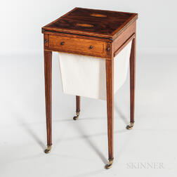 George III Mahogany and Mahogany- and Satinwood-veneered Worktable