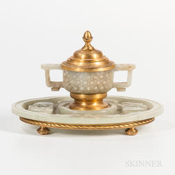 Brass-mounted Jade Inkwell