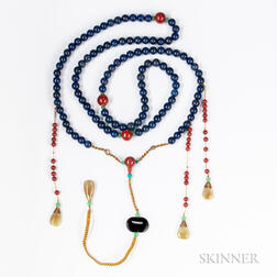 Lapis Lazuli and Carnelian Court Necklace, Chao Zhu