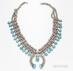 Turquoise Triple-strand Squash Blossom Necklace