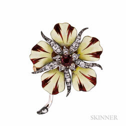 Antique 18kt Gold, Ruby, and Enamel Flower Brooch